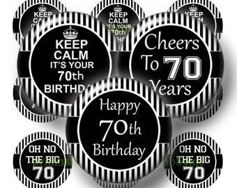 70th Birthday, Printable, Digital Collage Sheet, Bottle Cap Images, 1 Inch Circle, Instant Download, Cabochons, Cupcake Toppers BS-1