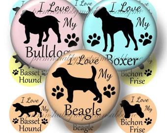 Digital Collage Sheet, Bottle Cap Images, 1 Inch Circles, Dogs, Breeds, Beagle, Bulldog, Boxer, Digital Download, Round Images, B