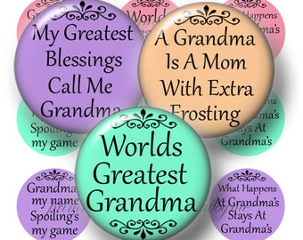Grandma, Bottle Cap Images, Digital Collage Sheet, 1 Inch Circle, Sayings, Instant Download, Grandmother, Pendants, Magnets, Key Ring, No.3