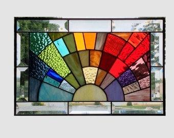 Beveled stained glass window panel rainbow arch geometric stained glass panel window hanging abstract suncatcher 0157 17 1/4 x 11 1/4