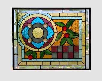 Victorian stained glass panel window hanging blue red amber purple stained glass window panel large stained glass art 0133 20 3/4 x 16 3/4