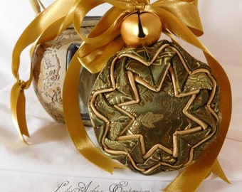 Hanging Quilted Ornament Ball Olive Green Asian Print and Gold with Bells