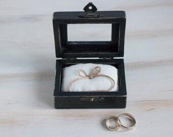 Black Wedding Ring Box Glass Ring Bearer Box  Еngagement box Rustic Ring Bearer Box Pillow Alternative Wedding Ring Holder Custom Ring Box