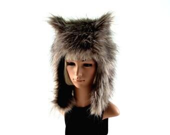 Natural Wolf Hat Faux Fur Animal Hat