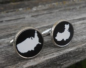 His & Hers Country Cufflinks. Black, White Acrylic. Wedding, Men's, Groomsmen Gift, Dad. Custom Orders Welcome. USA, China