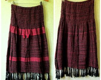 Boho Skirt handwoven skirt striped cotton festival skirt gypsy clothing red black elastic waist ethnic skirt vintage women extra small