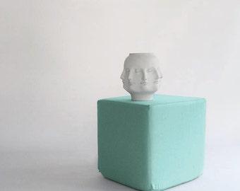 Pouf/Ottoman /Minimalistic /Aqua /Modern Floor Pouf /Additinal Sturdy Seating/ Unique Side table/ Foot Stool /Zigzag Studio Design