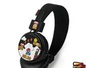 Super Mario Headphones - hand painted earphones - Mario - Luigi - Piranha Plant - Question block - 1UP Mushroom