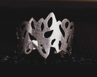 Sterling Silver Cuff Bracelet-Wide Cuff Bracelet-Silver Leaf Cuff-Forearm Cuff-Wrist Cuff-Adjustable