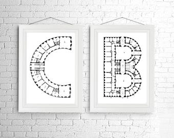 Letter Monogram Print Set Initial Architecture Blueprint Art Black and White Alphabet Personalized