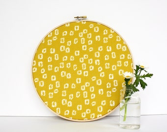 Cork Bulletin Board, Modern Mustard Yellow Geometric, As Seen In Somerset Home, Embroidery Hoop, with Tacks, Organize Wall Decor Home Office