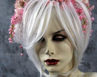 Spring Sale: Pink Fairy - Full (white) Wig, Hair & Horns - Headpiece Costume, Renaissance, Wedding Labyrinth  Elf cpsplay larp theater