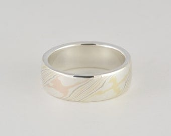 Mokume Gane Ring: Quad color with sterling silver liner, wide