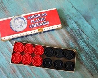 American Plastic Checkers, Vintage Game, Vintage Game Pieces, Vintage Checkers, Retro Collectible