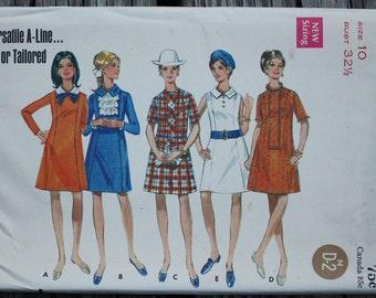 Butterick 5022 1960s 60s A line Princess Seam Dress Mini Vintage Sewing Pattern Size 10 Bust 32.5