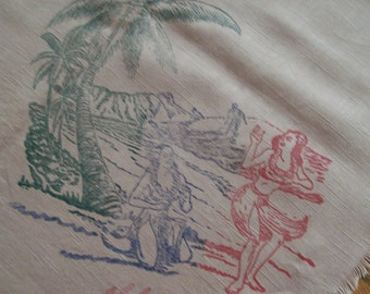 Hawaiian Souvenir Tablecloth 4 Matching Napkins Circa WWII Vintage Hawaii Hula Girl Palm Trees King Kamehameha Islands of Hawaii Retro