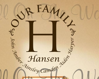 Family Wall Decal Last Name Decal Home Wall Decals Foyer Family Vinyl Wall Decals Home Decor Family Saying Wall Decal Art Housewarming Gift