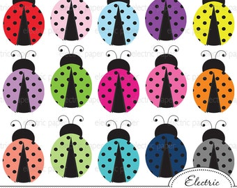 Lady Bug Clip Art - jpg and png files - eps file red lady bug, pink lady bug, cute lady bug - personal and small commercial use ok