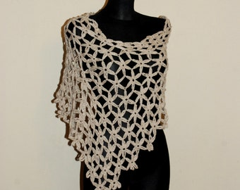 Ecru Summer Poncho, Beige Crochet Poncho, Women's Poncho, Flower Motif Crochet Poncho,