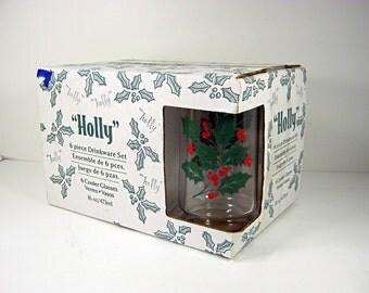 Vintage HOLLY TUMBLERS Set/6 NiP Holiday Christmas BARWARE Water Indiana Glass