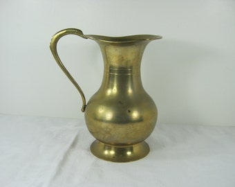 Vintage BRASS WATER PITCHER Flower Vase Floral Rustic & Tarnished