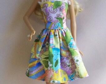 Handmade Barbie Clothes-Easter Multi-Color Egg Glitter Print Barbie Dress