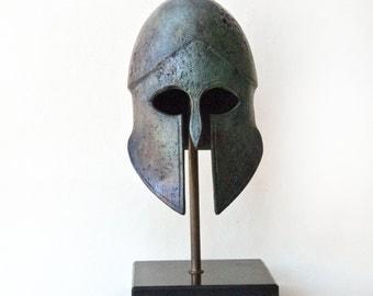 Metal Greek Helmet, Ancient Greek Helmet, War Army Helmet, Bronze Metal Art Sculpture, Museum Art Replica, Greek Art Decor, Unique Art Gift
