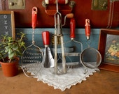 Vintage Collection of 5 Red Wooden Handled Kitchen Utensils Hand Whisk Beater Decor Mixer