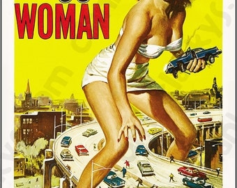 """Attack of the 50 FT Woman Movie Poster on an 8""""x12"""" Aluminum Sign - Made in USA!"""