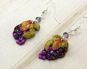 Grape Leaf Drop Pierced Earrings