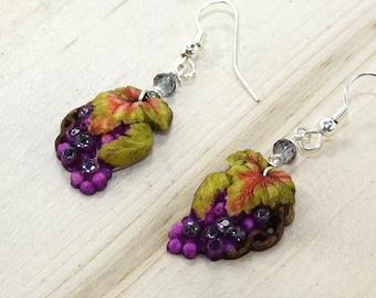 Grape  Earrings Purple Rhinestone and Crystal Drop Hypoallergenic