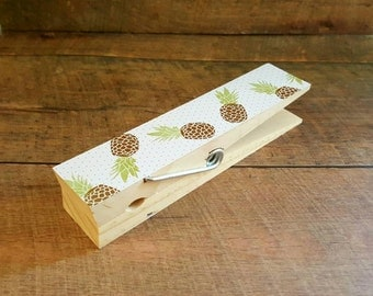 Jumbo Clothespin. Photo Holder. Recipe Holder. Pineapples. Large Clothespin. Kitchen Decor. Memo Holder. Desk Accessory. Photo Clip.