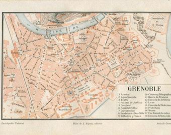 Grenoble Vintage City Map Street Plan 1920s France
