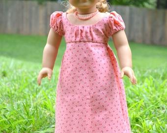 Doll Dress Regency American Girl 18 inch doll Caroline Coral Pink