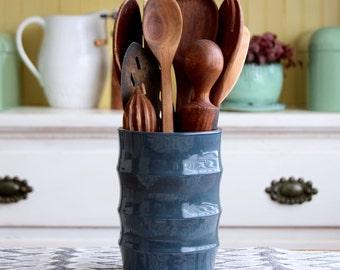 Modern Kitchen Utensil Holder - Hand Thrown Crock Vase - Minimalist Home Decor - READY TO SHIP