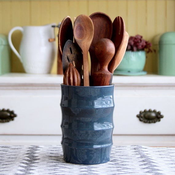 Modern kitchen utensil holder hand thrown crock by for Modern kitchen utensil