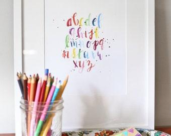 Nursery Print, Classroom Print, Watercolor ABC Print, Playroom Art, Whimsical Children's Art, Alphabet Print, Rainbow Kids Art, Kid's Decor