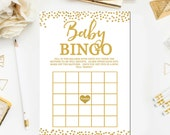 Gold Baby Shower Games Gold Baby Bingo Baby Shower Games Glitter Confetti Gold Baby Girl Shower Game Print Instant Download BB6
