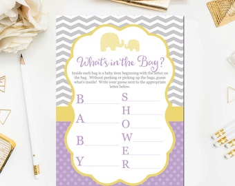 Whatu0027s In The Bag Baby Shower Game, Baby Shower Game Printable, Purple Baby  Shower