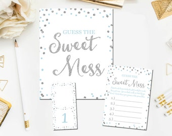 Guess The Mess Game, Printable Baby Shower Guess The Sweet Mess Game, Blue Silver Baby Shower Games Instant Download, Diaper Game BB9