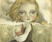 The Great Escape, Print of an Original Dramatic Painting, Painting of a Big Eyed Girl
