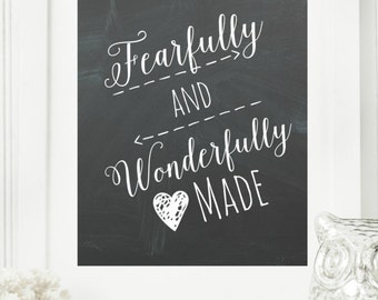 """Instant """"Psalm 139"""" Chalkboard Wall Art Print 8x10 Printable File Encouraging Home Decor"""