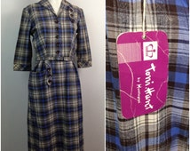 Vintage NWT 1940s Blue and Brown Plaid Cotton Wool Belted Dress / Small / Deadstock 40s Rockabilly Pinup Frock House Day Dress