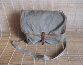 Vintage Washed Out Green Canvas Cross Body Bag Messenger Satchel