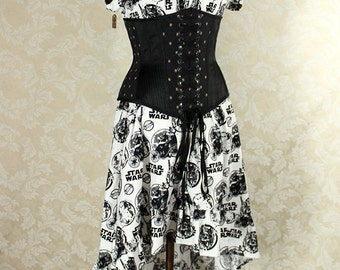 "Cap Sleeved Ragamuffin Dress in Black/White Star Wars Print -- Size M, Fits Bust 36""-40"" -- Ready to Ship"