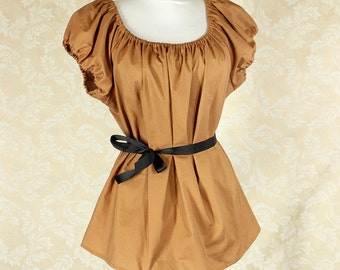 "Caramel Cotton Willow Chemise -- Sz. L -- Fits Bust 40""-44"" --  Ready to Ship"