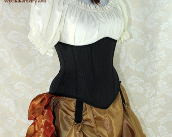 "Steampunk Black Pinstripe Steel Boned Waspie Corset w/Solid Front -- Corset Size 18, Fits Waist 21""-23"" -- Ready to Ship"