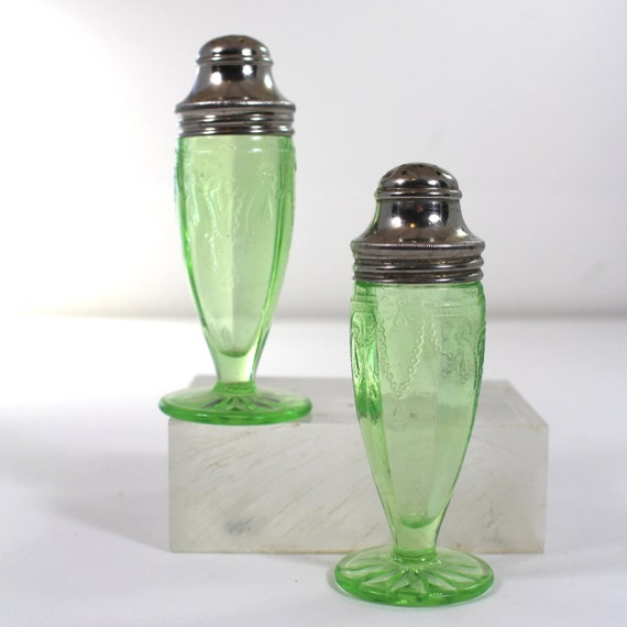 Salt Lamps Depression : Cameo Green Depression Glass Salt and Pepper Shakers by