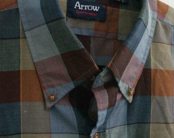 Vintage Arrow Plaid Multi-color Button Down XL