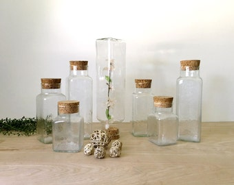 Square Glass Apothecary Jar with Cork Lid - Multiple Selections